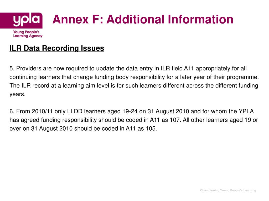 Annex F: Additional Information