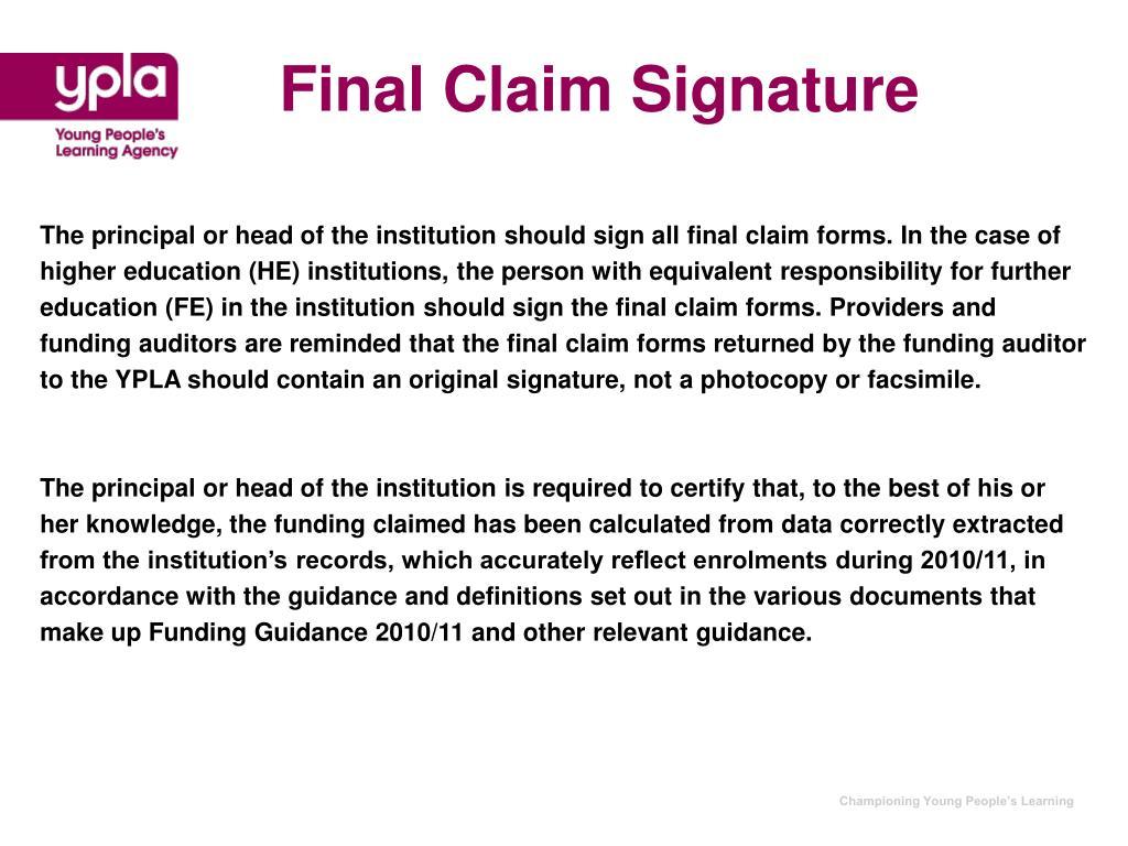 Final Claim Signature