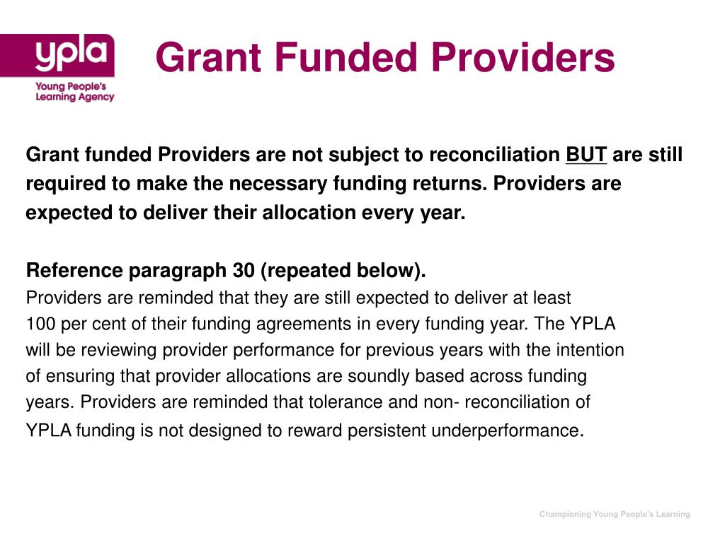 Grant Funded Providers