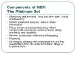components of nep the minimum set14