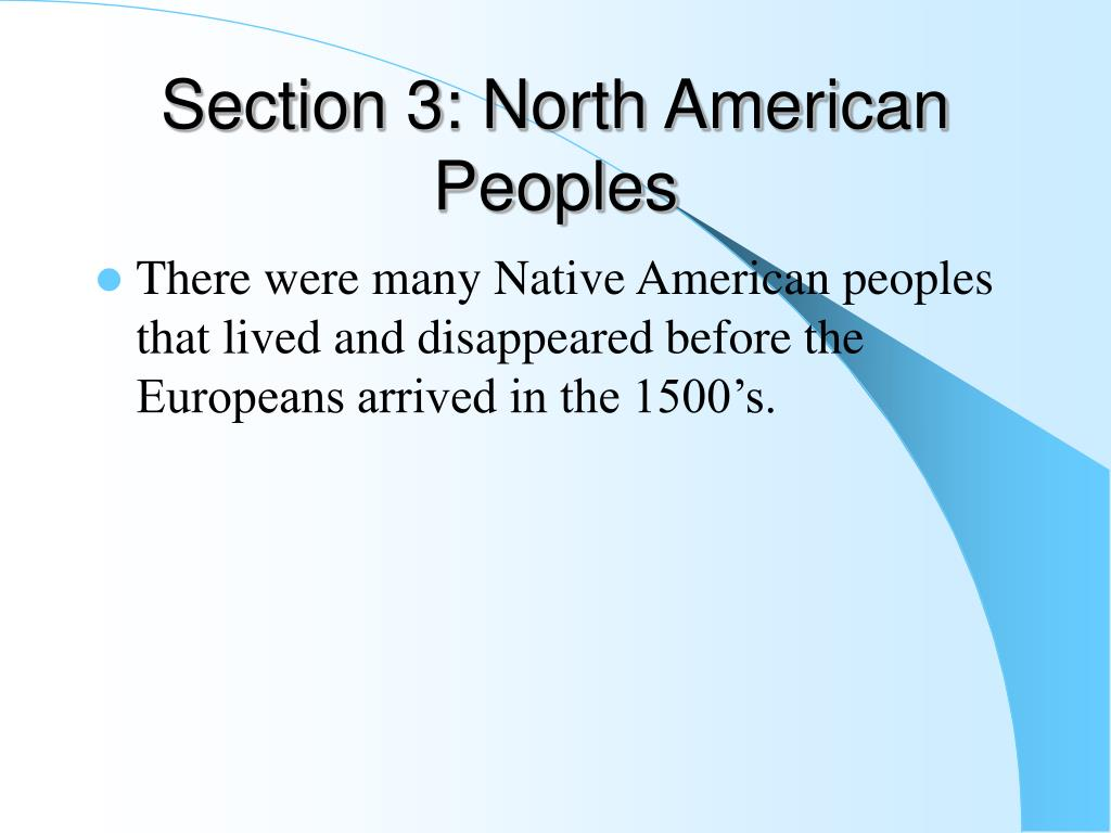 Section 3: North American Peoples