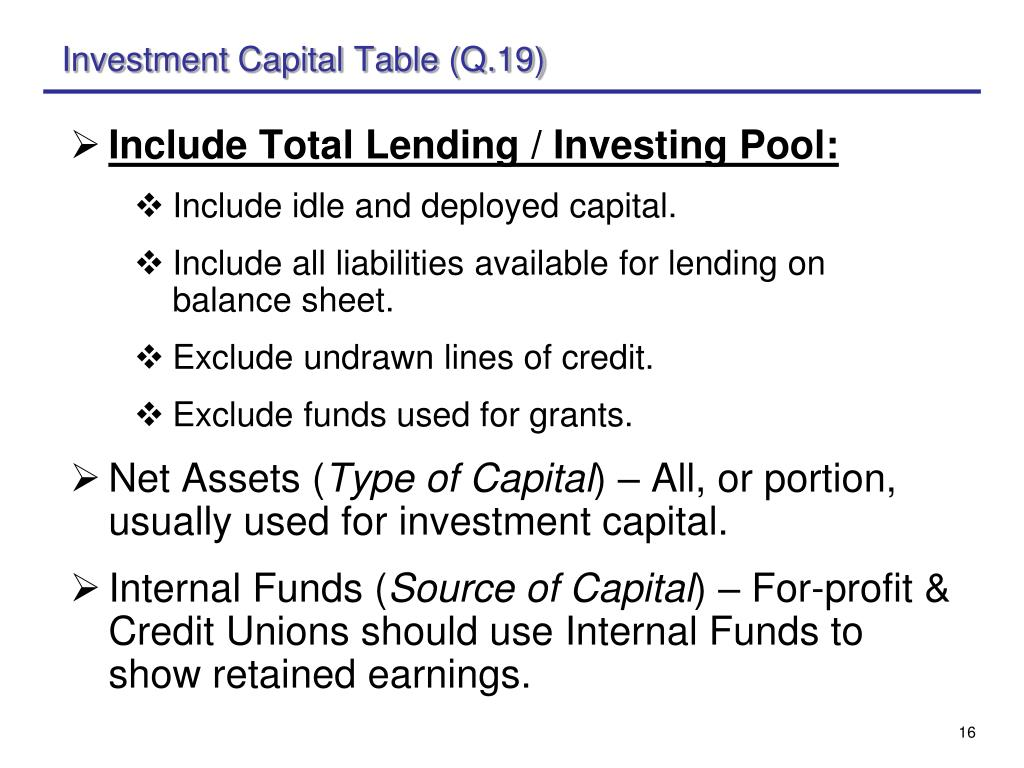 Investment Capital Table (Q.19)