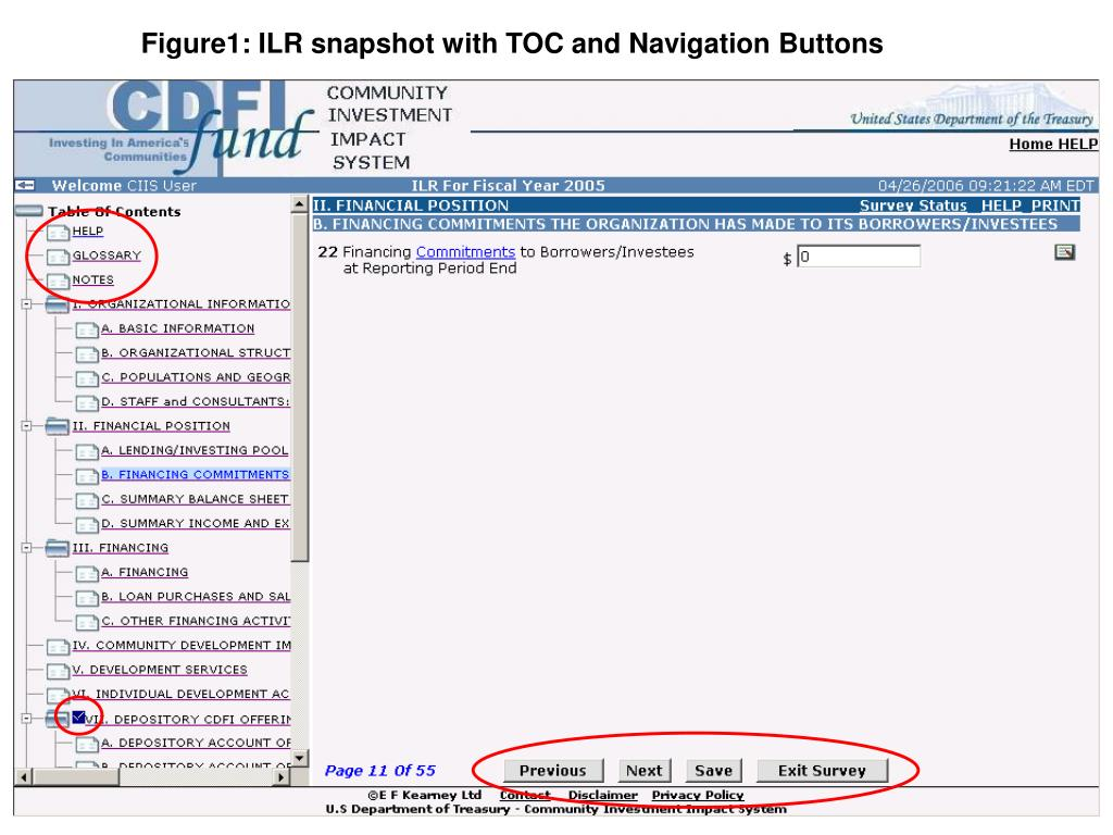Figure1: ILR snapshot with TOC and Navigation Buttons