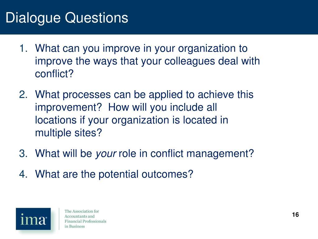 Dialogue Questions