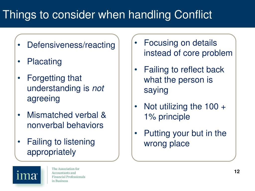 Things to consider when handling Conflict