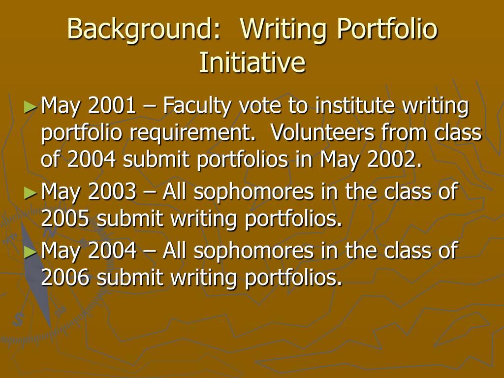 Background:  Writing Portfolio Initiative