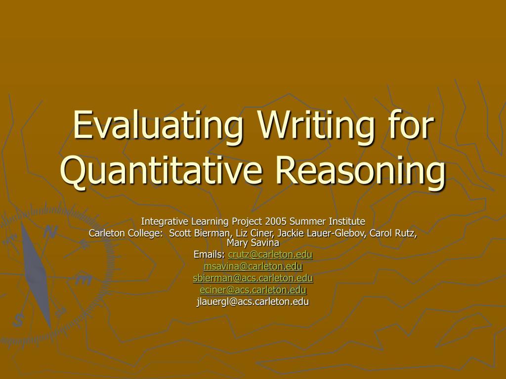 Evaluating Writing for Quantitative Reasoning