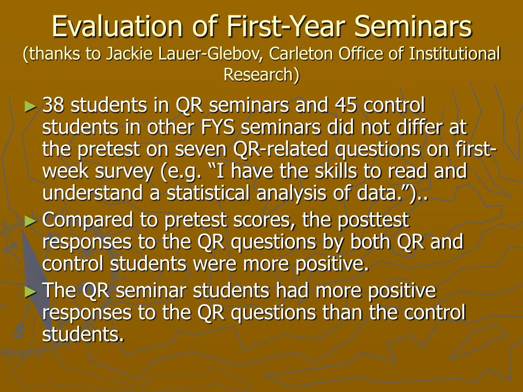 Evaluation of First-Year Seminars