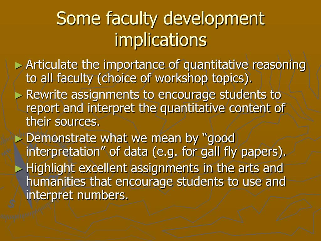 Some faculty development implications