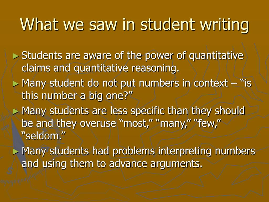 What we saw in student writing