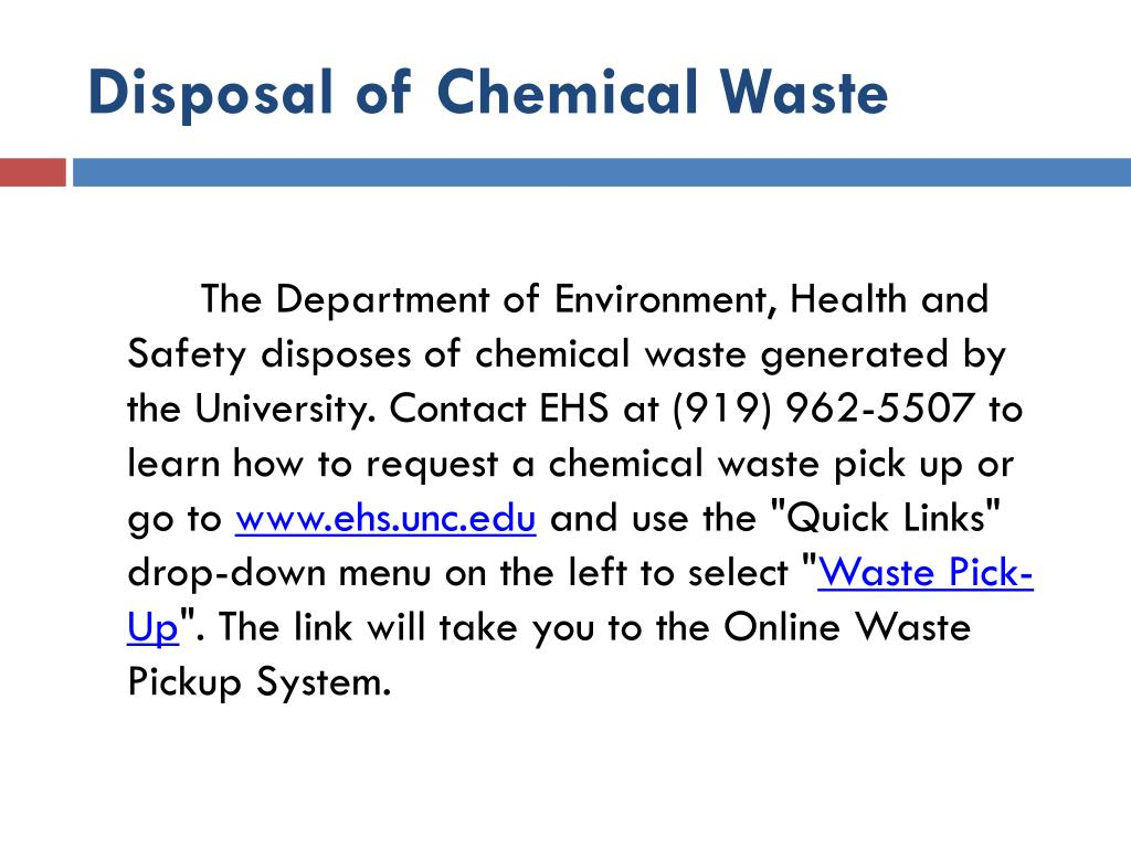 Disposal of Chemical Waste