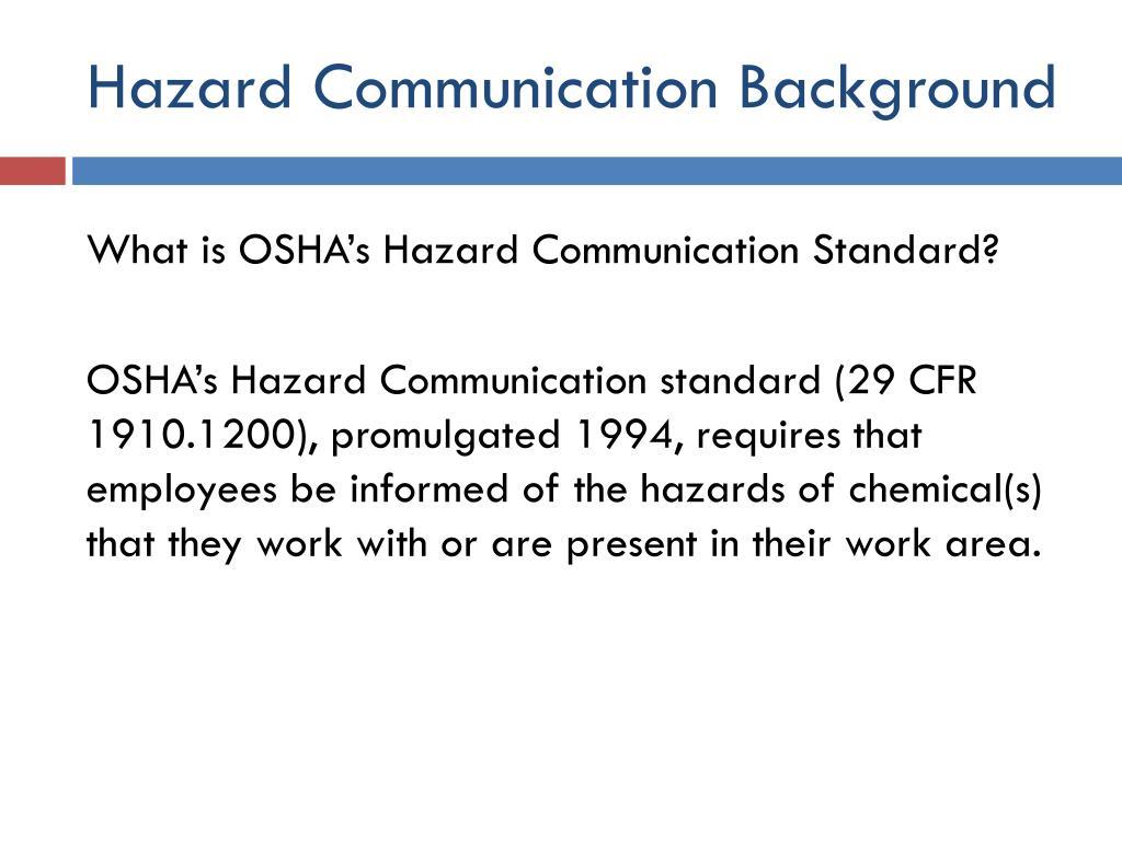 Hazard Communication Background