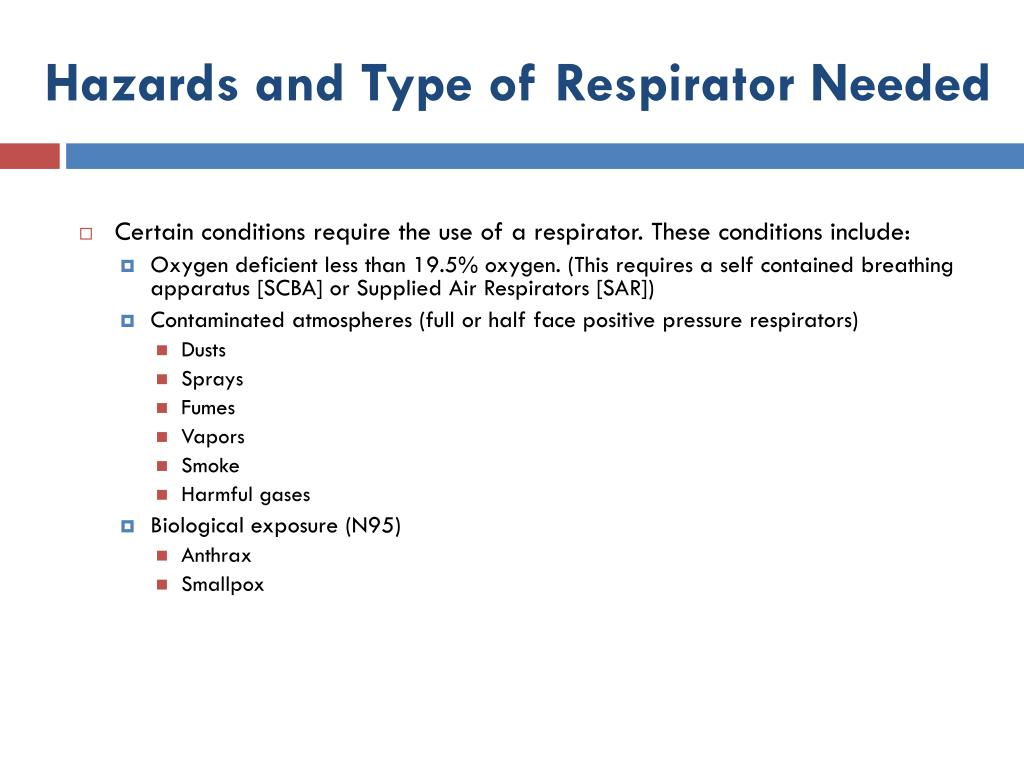 Hazards and Type of Respirator Needed