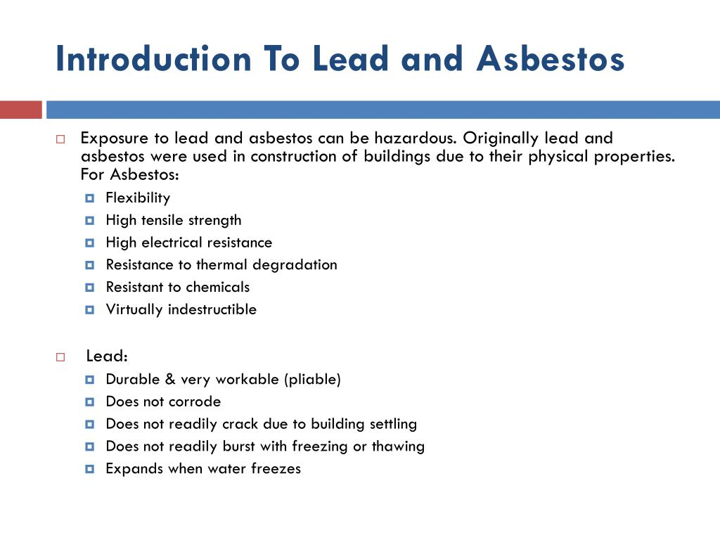 Introduction To Lead and Asbestos