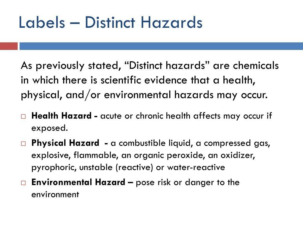 Labels – Distinct Hazards