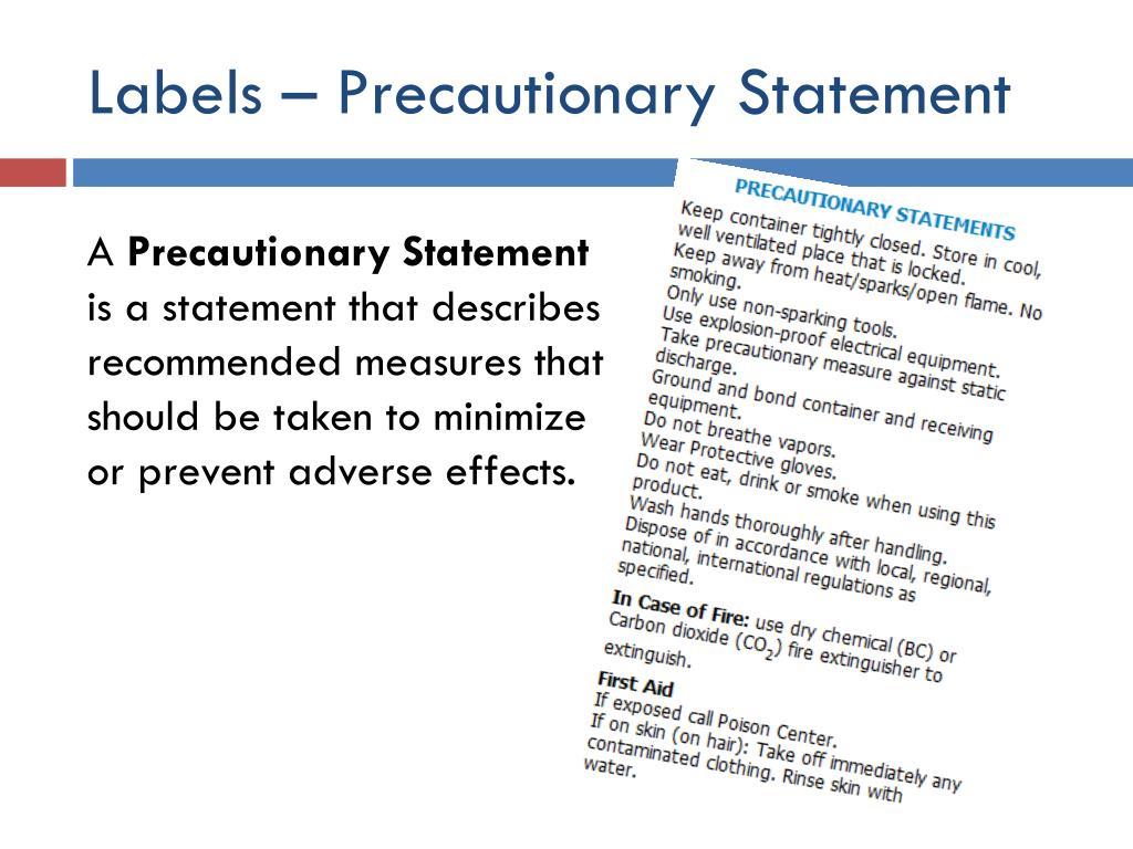 Labels – Precautionary Statement