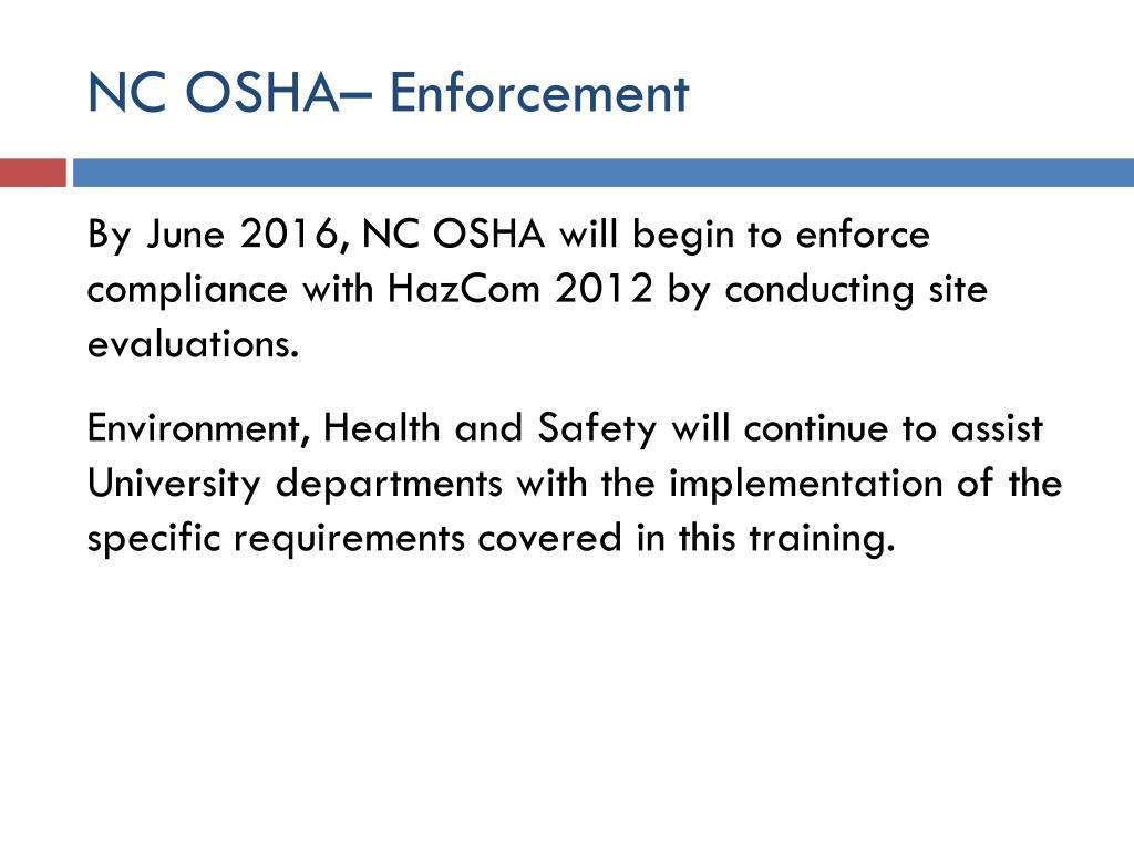 NC OSHA– Enforcement
