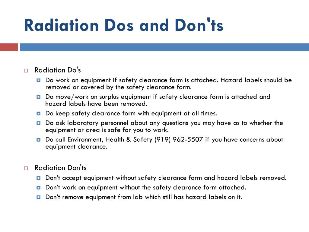 Radiation Dos and Don'ts
