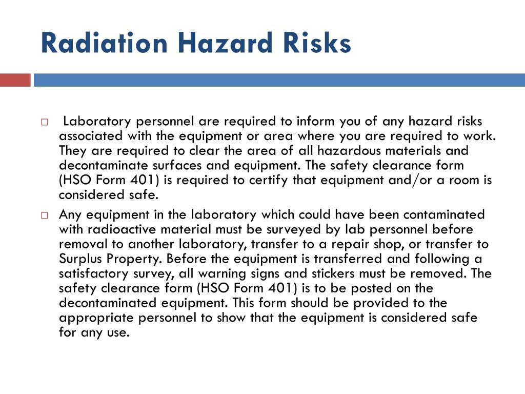 Radiation Hazard Risks