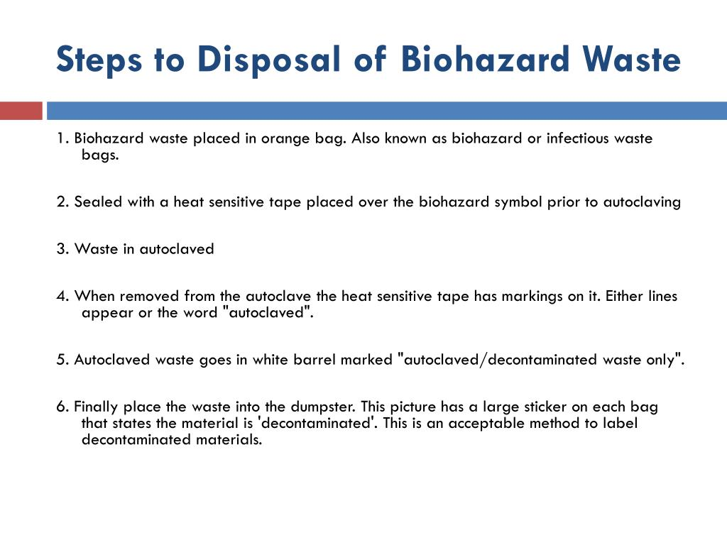 Steps to Disposal of Biohazard Waste
