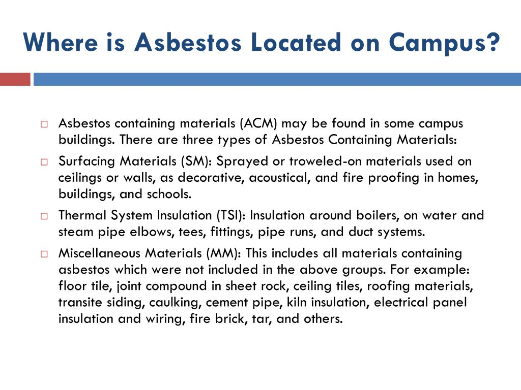 Where is Asbestos Located on Campus?