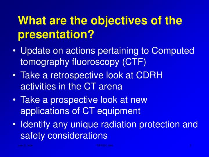 What are the objectives of the presentation