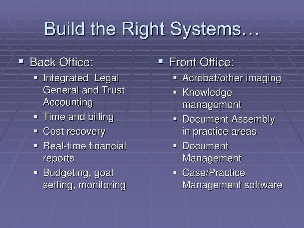 Build the Right Systems…