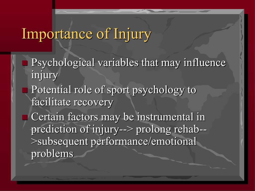 Importance of Injury