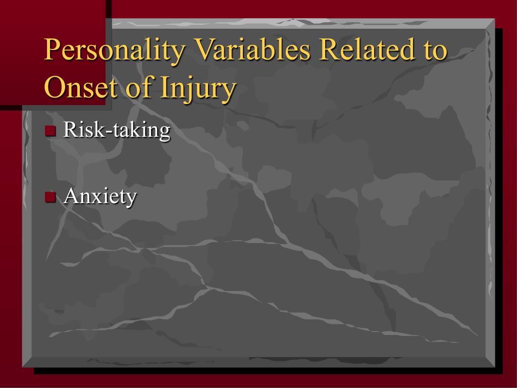 Personality Variables Related to