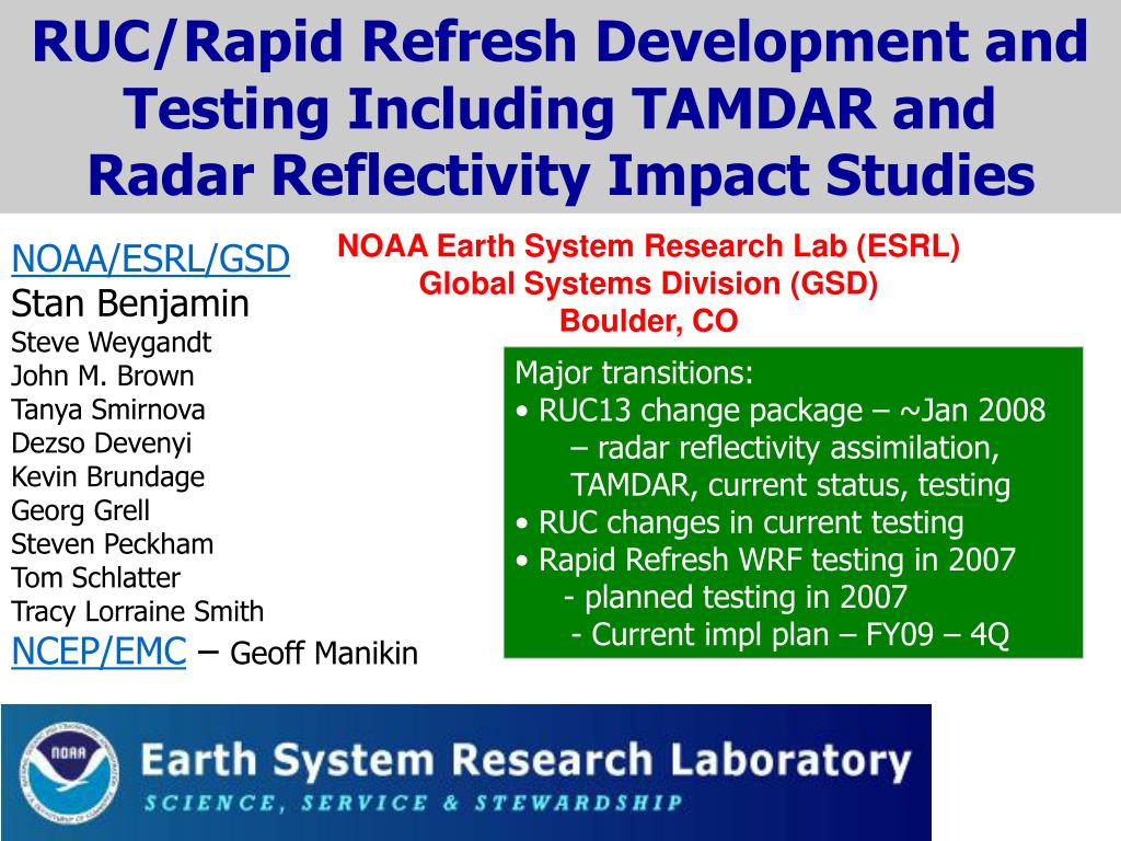 noaa earth system research lab esrl global systems division gsd boulder co l.