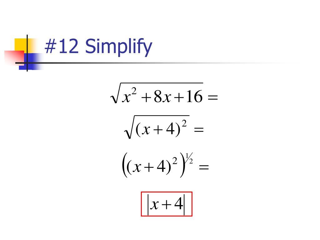 #12 Simplify