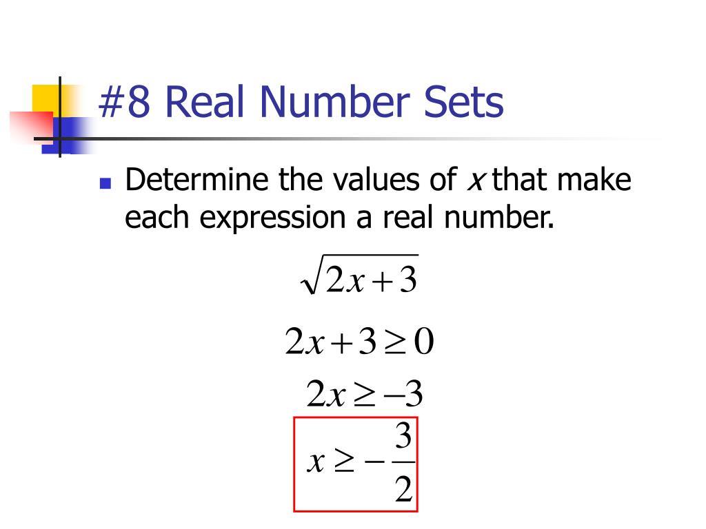 #8 Real Number Sets