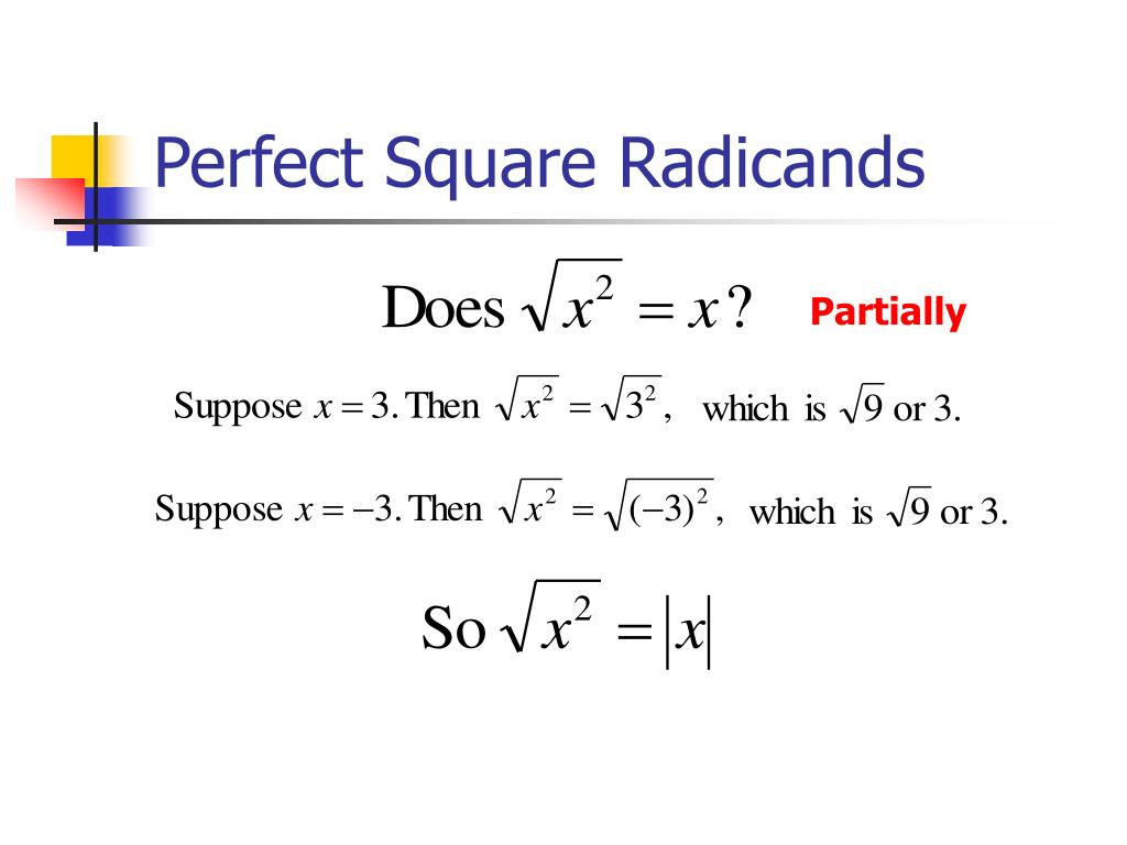 Perfect Square Radicands