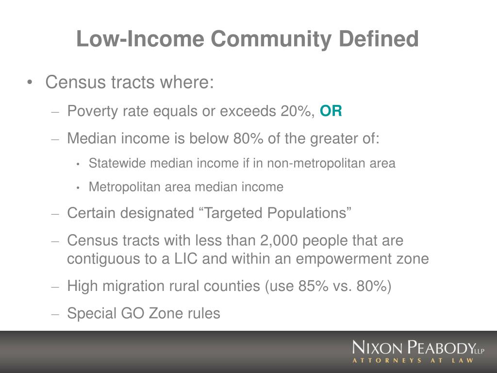 Low-Income Community Defined