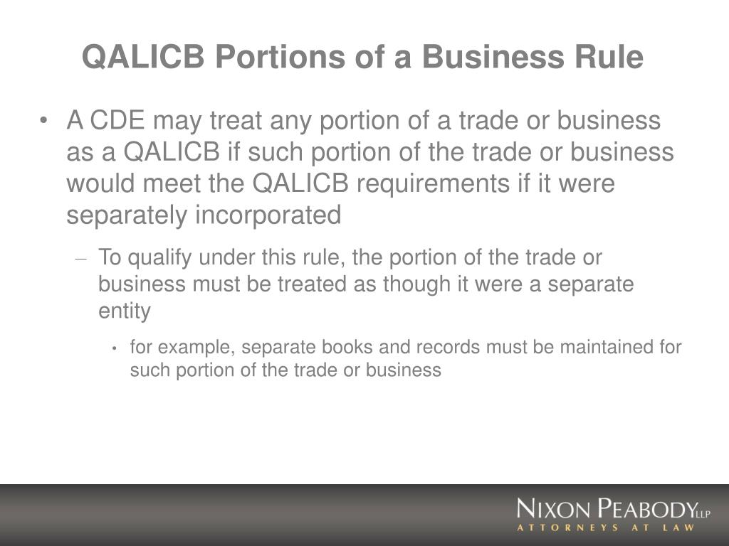 QALICB Portions of a Business Rule