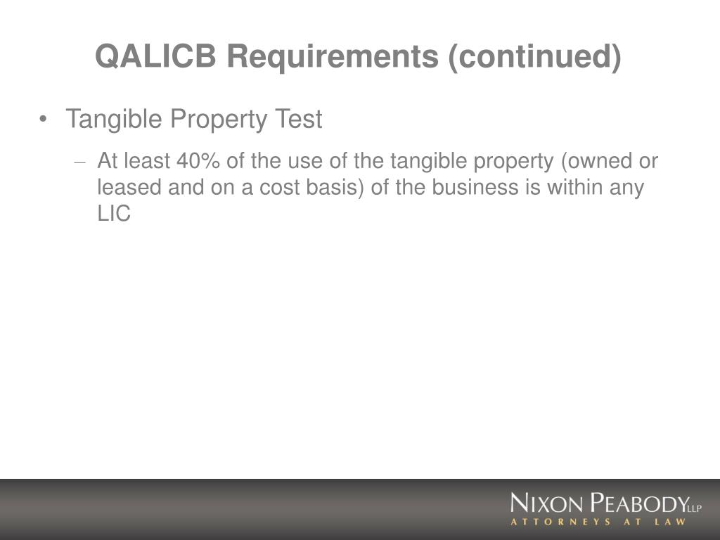 QALICB Requirements (continued)