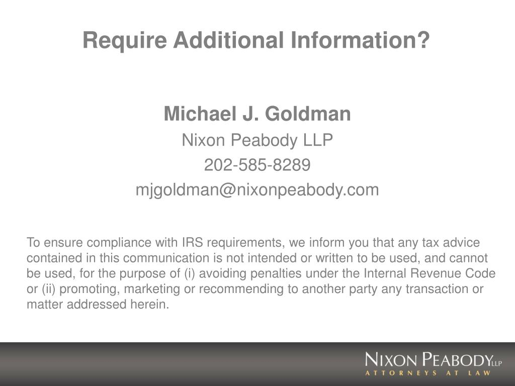 Require Additional Information?