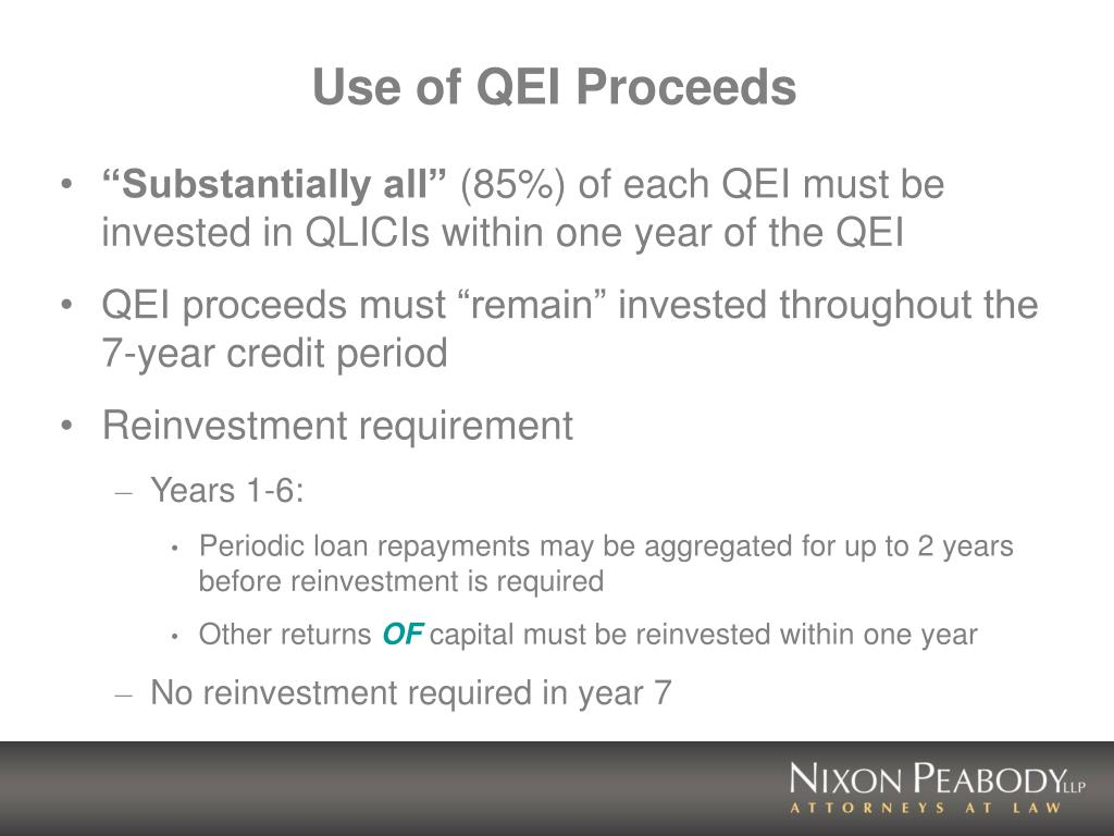 Use of QEI Proceeds