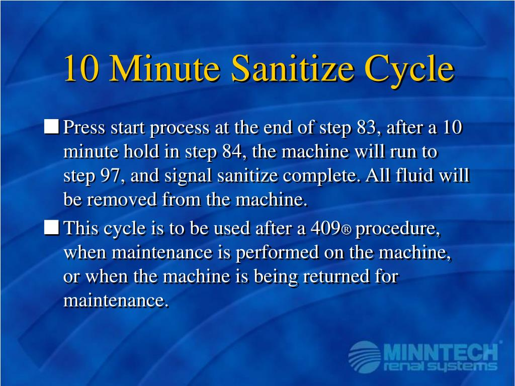 10 Minute Sanitize Cycle