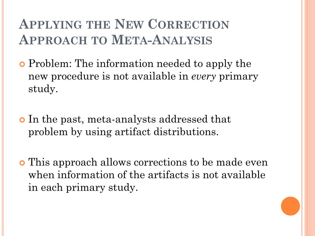 Applying the New Correction Approach to Meta-Analysis