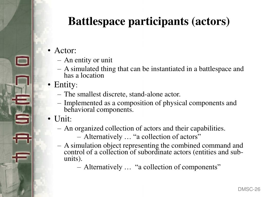 Battlespace participants (actors)