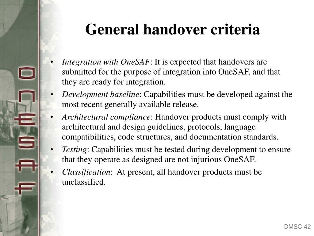 General handover criteria
