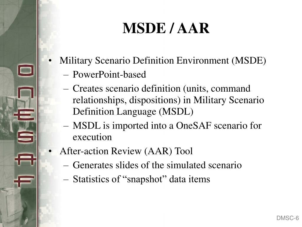MSDE / AAR