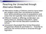 reaching the unreached through alternative models