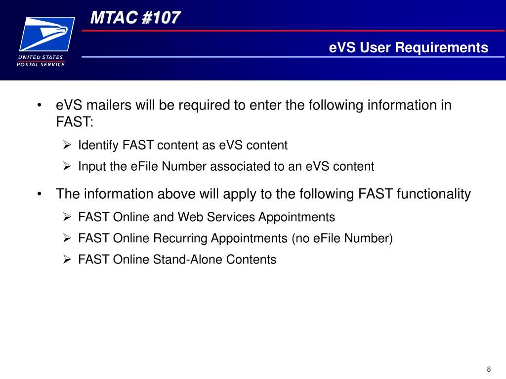 eVS User Requirements
