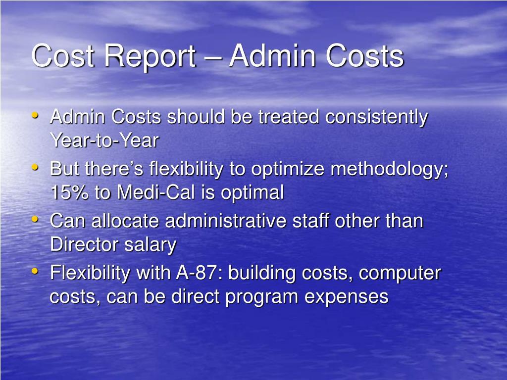 Cost Report – Admin Costs