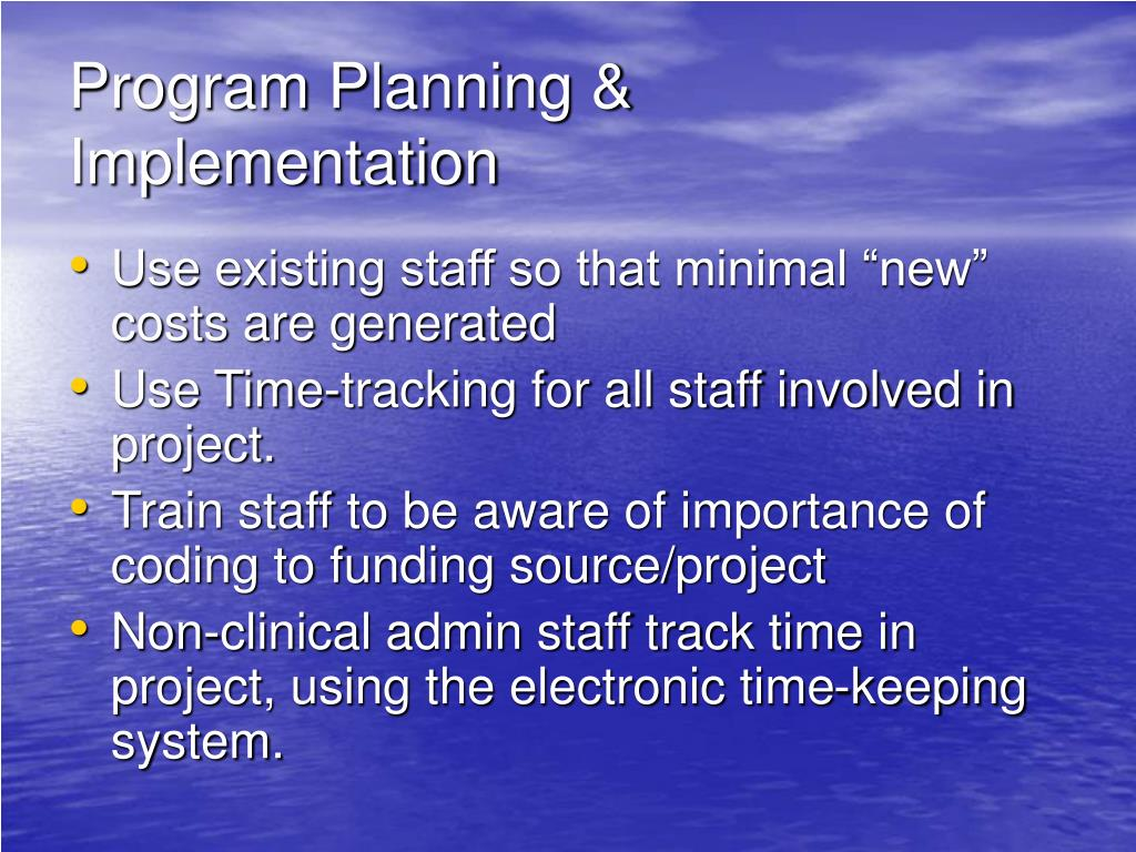 Program Planning & Implementation