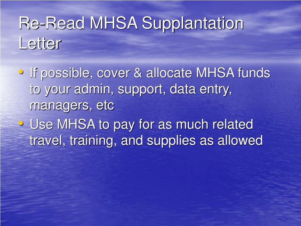 Re-Read MHSA Supplantation Letter