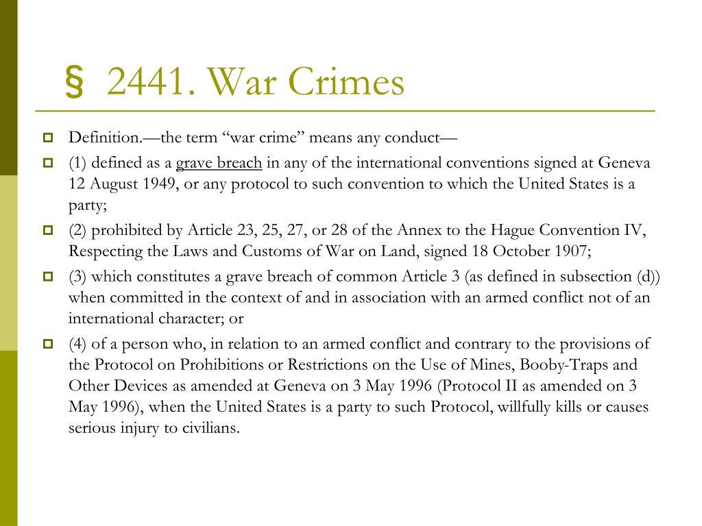 § 2441. War Crimes