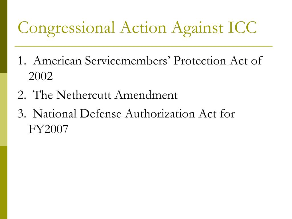 Congressional Action Against ICC